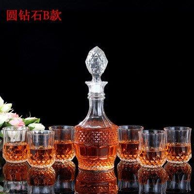 精緻小店.Fine shop--進口高檔水晶玻璃酒杯酒具套裝創意威士忌杯玻璃醒酒器紅酒瓶酒樽
