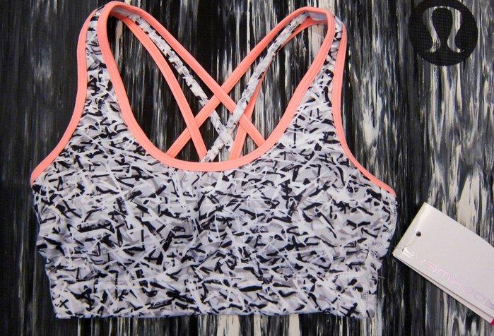 保證真品!全新吊牌未拆~澳洲知名瑜珈運動服品牌ROCKWEAR黑白灰亂紋交叉露背運動內衣sport bra(附胸墊)