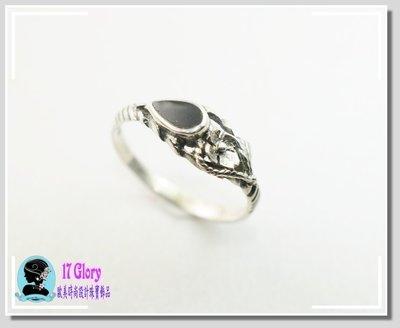 零碼特價 中指戒 古典925純銀戒指 天然黑瑪瑙手工打造 黑色力量美感 歐洲古典設計款 現貨 ✽ 17 Glory ✽