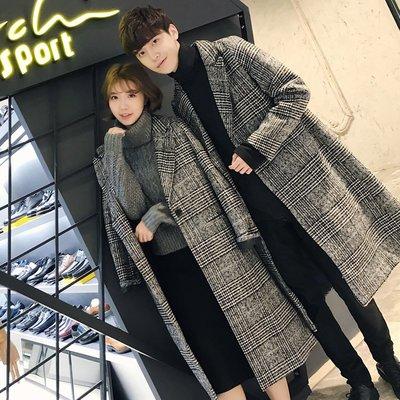 【MOZ潮流男装】秋冬季英倫風修身中長款格子風衣外套潮流款情侶呢子大衣
