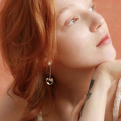 希諾時尚專賣店TAVERN 長鍊珍珠小貓耳環高級感小眾設計師品牌 顯瘦韓國氣質長款