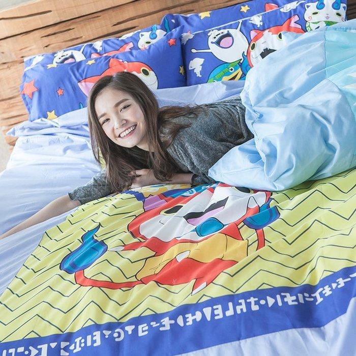 床包 / 雙人【妖怪手錶-武士慶典】含二件枕套,混紡精梳棉可愛卡通,戀家小舖台灣製M02-ABF201