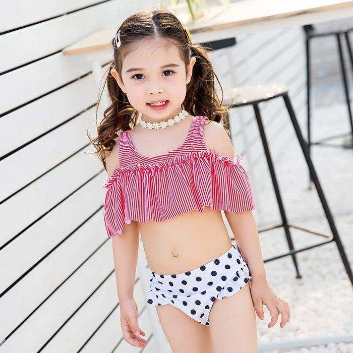 【小阿霏】兒童兩件式泳衣 女童甜美條紋露肩荷葉邊點點保守比基尼泳裝 女孩兩用溫泉泳裝SW50
