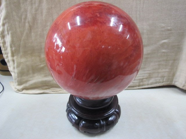二手舖 NO.3772 紅兔毛 紅水晶球 奇石 原石 原礦 晶球 底座