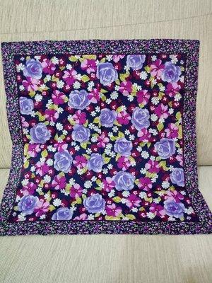 天使熊小鋪~日本帶回小碎花邊紫玫瑰手帕...
