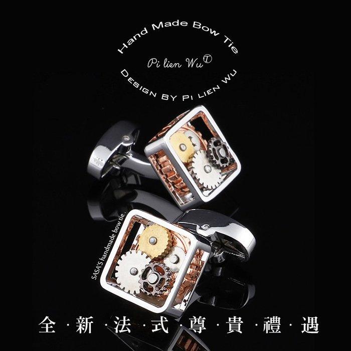 個性蒸汽朋克風方形鏤空機械袖扣 手錶袖扣 機蕊袖扣  機械齒輪袖扣 復古精致機芯男士法式襯衫袖釘