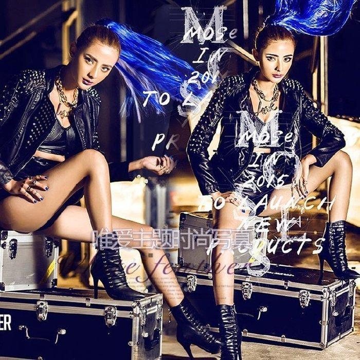 【優上精品】DS歌手車模演出服裝 影樓工作室機車女孩主題寫真拍攝服飾(Z-P3209)