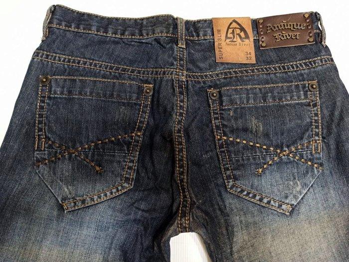 賠售W34L32現貨【美國LEVIS專賣】USA潮牌antique rivet 復古藍金色縫線低腰窄管牛仔褲114美金