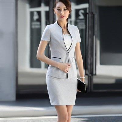 OL 套裝 短袖裙裝-夏季修身鑲邊商務女制服2色73mp58[獨家進口][米蘭精品]