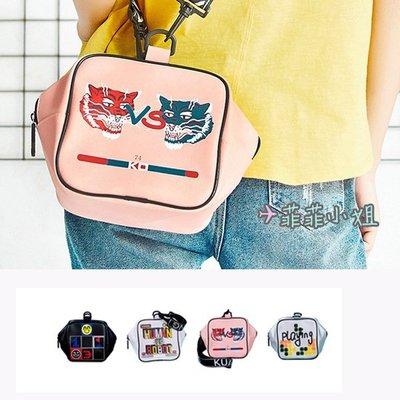 哐花村 PK遊戲主題系列 街頭風 運動 設計感 方形手提包 單肩 斜背包
