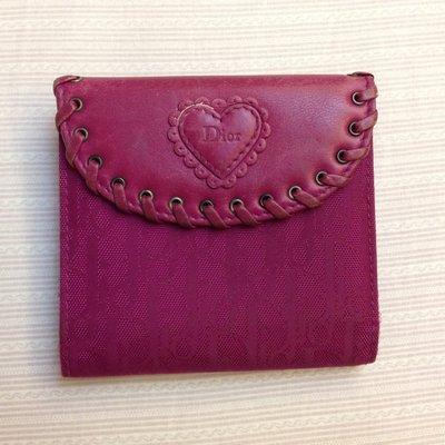 Christian Dior桃紅短夾