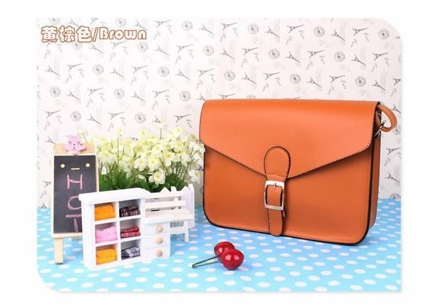 Cutie-Newbag【AA0477】張娜拉同款馬卡龍色系定型郵差斜背包.