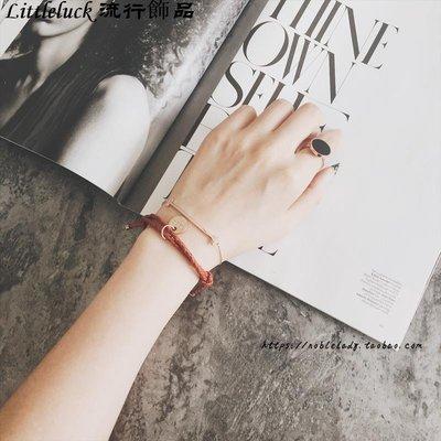 流行飾品Noble Lady韓國手工真皮編織手錬 紅色皮繩圓片情侶手繩 不褪色