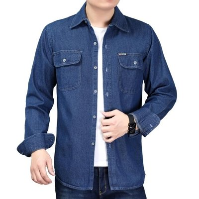 售完即止-青年男士牛仔襯衫長袖加大碼棉質襯衣薄款工作服季純色男裝10-5(庫存清出S)