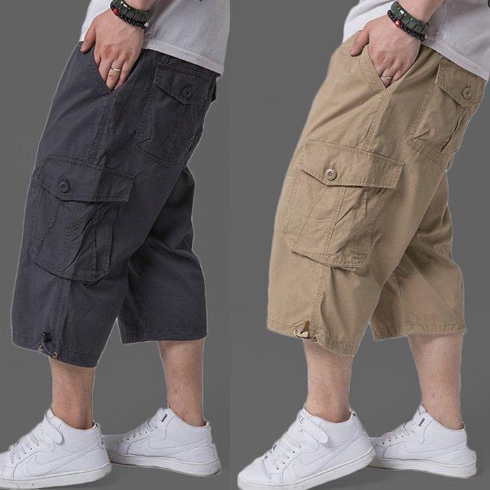寬管褲 短褲 直筒褲 加大休閒七分褲 男 寬松肥佬褲中褲男 胖人加肥加大工裝短褲