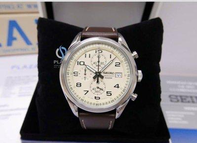 日本Seiko精工錶 Chronograph (SSB273P1)棕色皮革錶帶 男 三眼計時腕錶 45mm