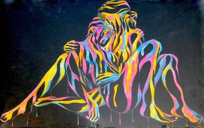 TCP作品【Romantic love】油畫 無框畫 抽象風格 塗鴉風格 當代藝術