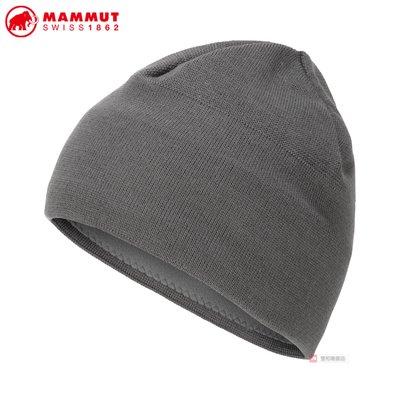 -滿3000免運-MAMMUT MA19 Tweak Beanie保暖毛帽/1191-01352/鈦金灰.公路灰
