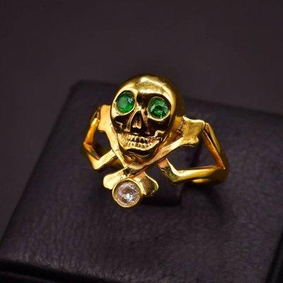 韓國 Penetrate 骷髏綠寶石 純銀鍍金戒指