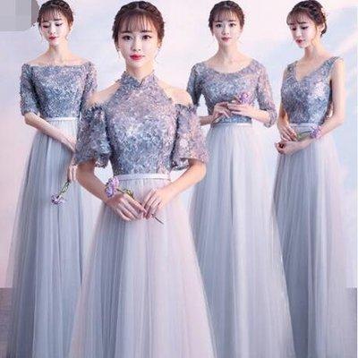 伴娘服 新款 灰色伴娘團姐妹裙長款修身宴會顯瘦晚禮服 洋裝—莎芭