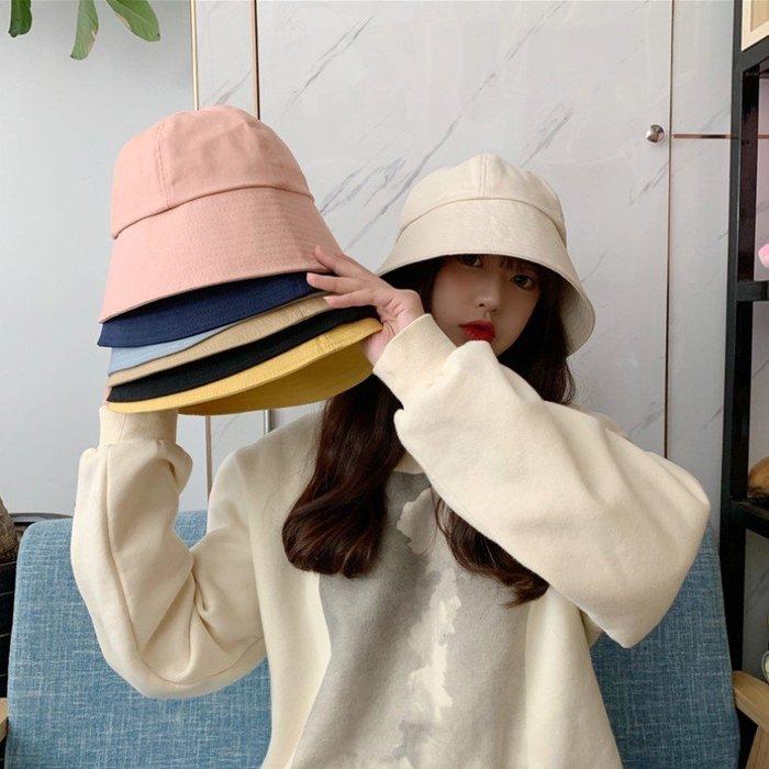 漂亮小媽咪 韓系 純棉 漁夫帽【BW5001】 純色 斜紋布 遮陽帽 女性 成人 防曬 桶帽 漁夫帽