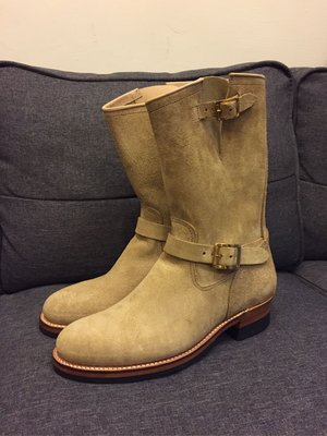 Attractions suede engineer boots 米白色反皮長靴 lot329/9號全新品