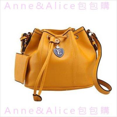* Anne&Alice包包購 * ~出清~韓時尚大牌水桶包復古抽繩圓桶包肩背包斜跨包女包