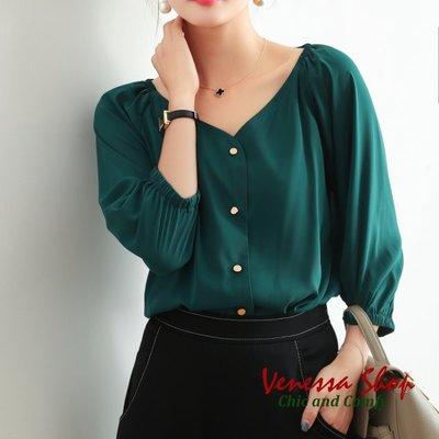 歐美 2019新款 貴族墨綠顯膚白 甜美心型V領 公主泡泡燈籠七分袖 微寬鬆襯衫上衣 特價 (U805)