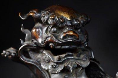 日本 茶道 花道 老件 銅 手毬 鎏金 獅子 香爐 薰香 收藏級