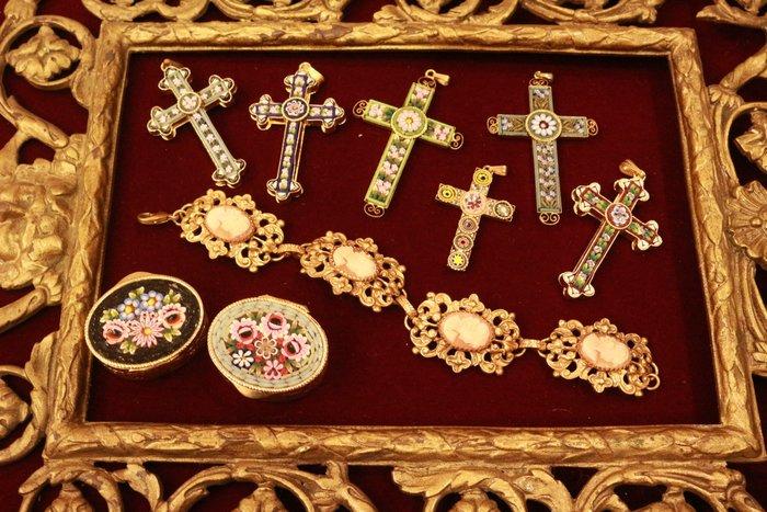 【家與收藏】稀有珍藏歐洲古董義大利精緻優雅手工馬賽克十字架墜子1