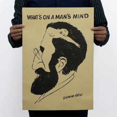 【貼貼屋】佛洛伊德 男人的腦子在想什麼? 牛皮紙 海報 壁貼 電影海報 懷舊復古 240