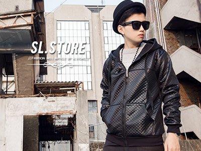 SL Store【D8328】韓版菱格紋設計特殊亮面連帽抽繩外套.金/黑/M/L