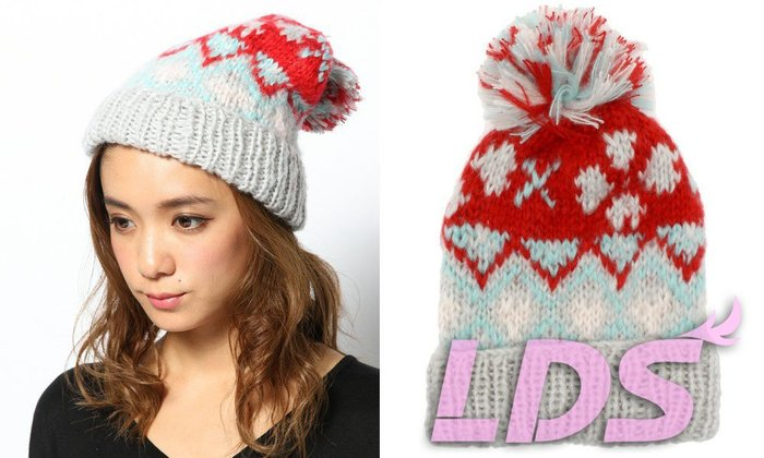 SHINY SPO 獨家代理日本品牌 L.D.S 甜美可愛拼色毛球毛線帽