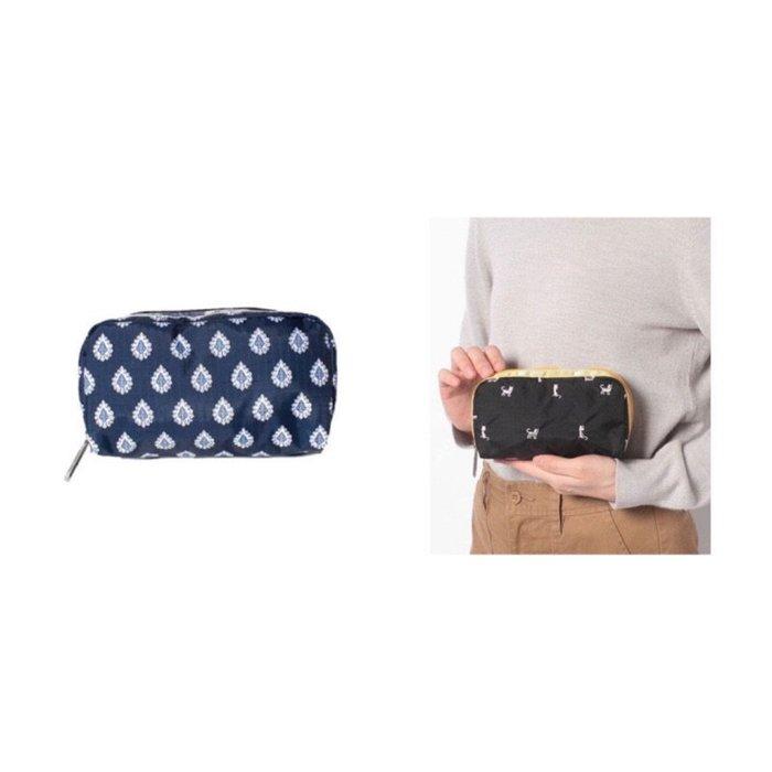 ♥ 小花日韓雜貨 ♥ 新款Lesportsac 6511 黑色刺繡貓藍色鑽石花手拿包收納包化妝包筆袋