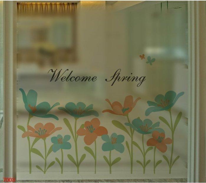 壁貼工場-玻璃貼 無痕貼 壁貼 牆貼 透明磨砂 花 窗貼 K7003