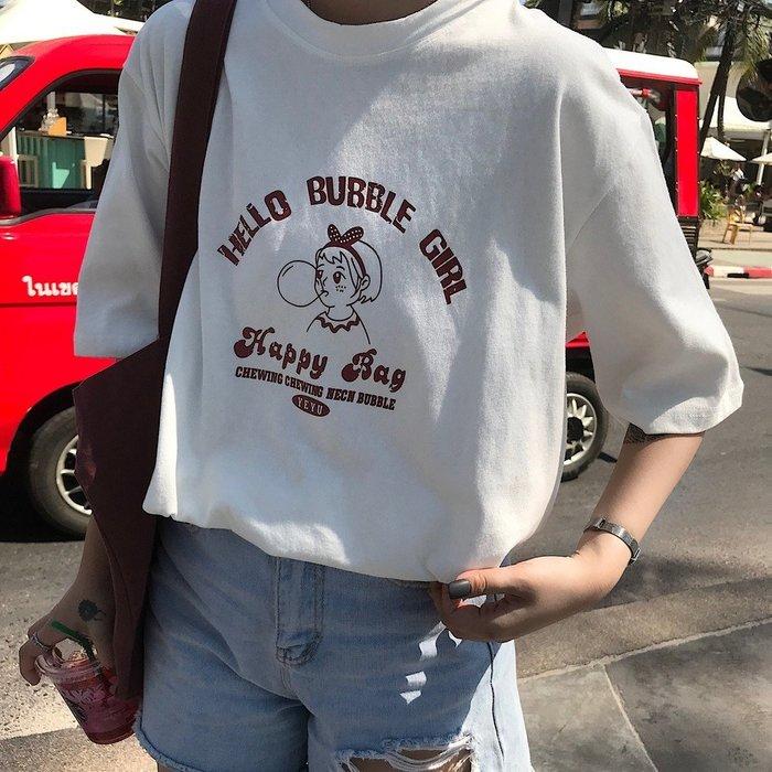 夏季女裝短袖T恤 港風短袖t恤女學生夏裝新款寬松韓版ins潮百搭半袖白色原宿風