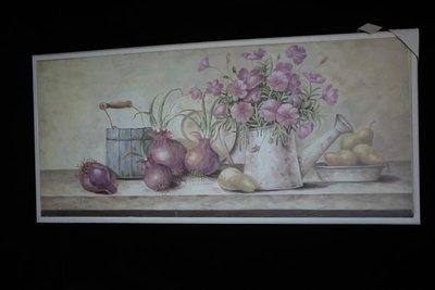 鄉村風仿舊油畫筆觸木底框洋蔥 梨子 花朵 廚房 居家店面掛飾 禮物