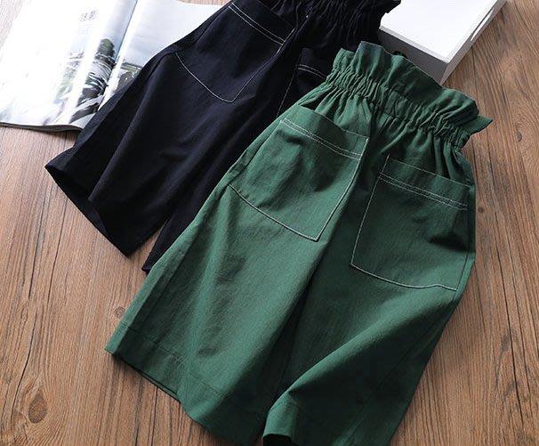 [C.M.平價精品館]125現貨/品味時尚鬆緊腰圍黑/綠色寬管褲  大童/小中童