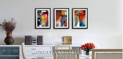 抽象藝術油畫客廳三聯裝飾畫實木個性現代簡約沙發三聯有框畫(3款可選)