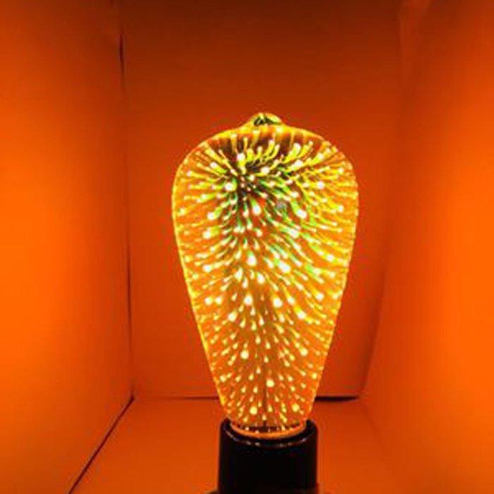 5Cgo【代購】設計師聖誕樹氣氛小夜店LED創意煙花烟火流星燈泡ST64七彩立體藝術E27 3D十種造型 另十款燈座含稅