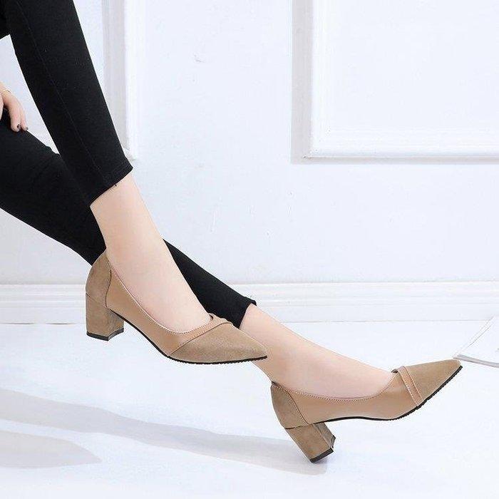 麥麥部落 中跟鞋女鞋子拼接淺口尖頭磨砂單鞋粗跟中跟工作鞋MB9D8