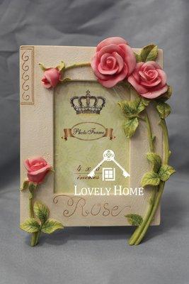 (台中 可愛小舖)田園鄉村立體風格-優雅玫瑰花簡約相框優雅裝飾暖色長方型邊框花朵送禮全家福藝術照擺飾擺設裝飾皆可