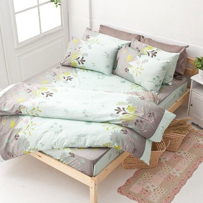 床包被套組 / 雙人加大【香草綠】含兩件枕套  100%純棉  戀家小舖台灣製AAC312