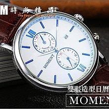 MOMENT  羅馬數字雙眼造型日曆手錶  韓國風 日本機芯  石英  皮帶 男錶  AM時尚精品【WW304】