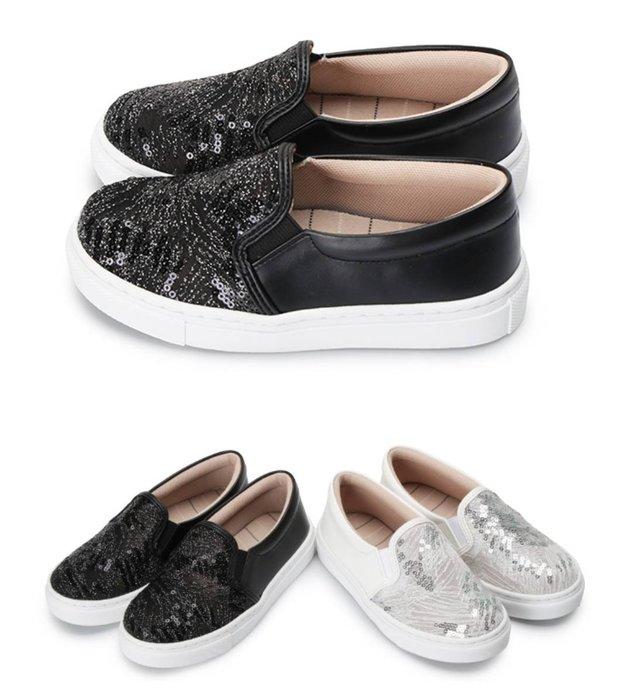 富發牌。女童鞋。33BD39 星沙網紋亮片兒童懶人鞋  亮片休閒鞋(白/黑)(16-22號)~nanakids娜娜童櫥