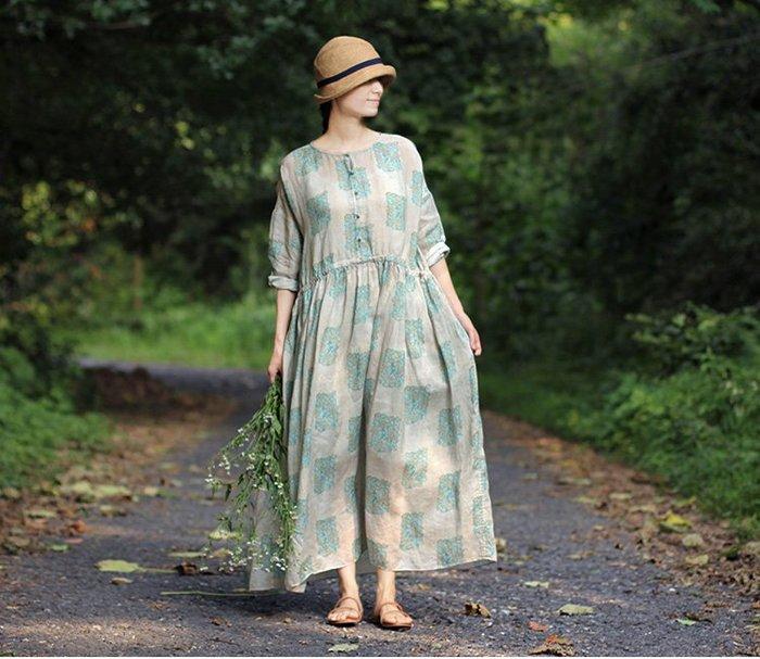 質樸的奢華♥夏季薄清透苧麻灰綠系圓領盤腰部抽繩扣寬松連身裙3206