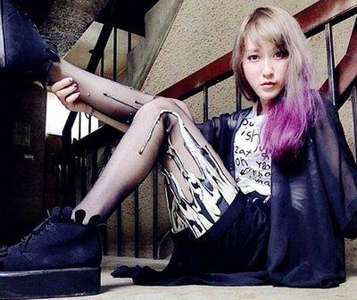 {MP} URB Messy Black&White 特殊乳膠造型 褲襪 打底褲[UR1105]