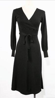 全新時尚雜誌廣告款 日本名牌 LURE CONSCIOUS 黑色氣質款針織洋裝 38號(超顯瘦) 衣料材質超優
