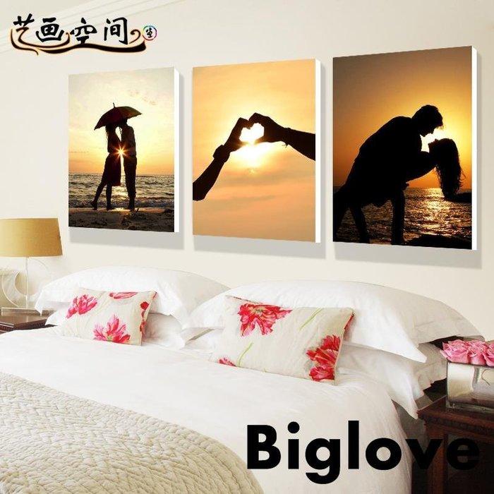 現代簡約臥室床頭掛畫客廳無框畫墻浪漫裝飾畫時尚情侶人物三聯畫