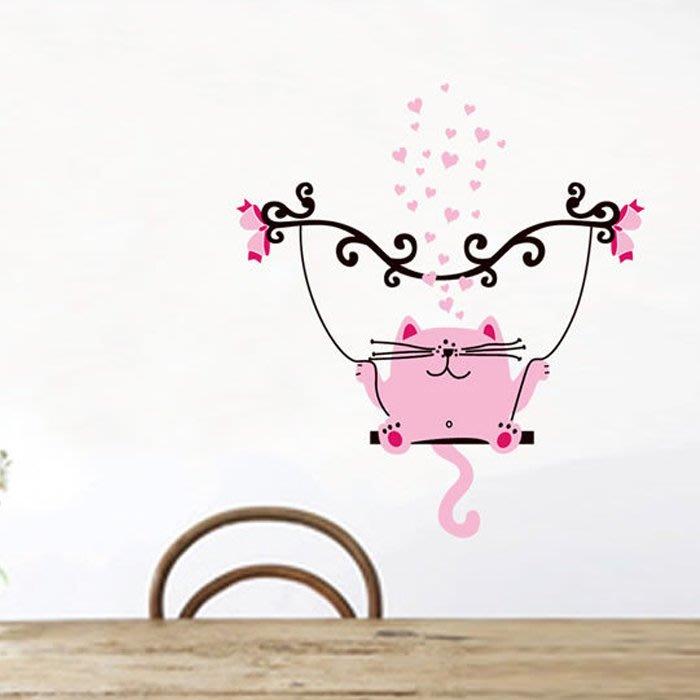 壁貼工場-可超取 三代大尺寸壁貼 牆貼室內教室佈置 貼紙 戀愛鞦韆貓 卡通圖 JM8245